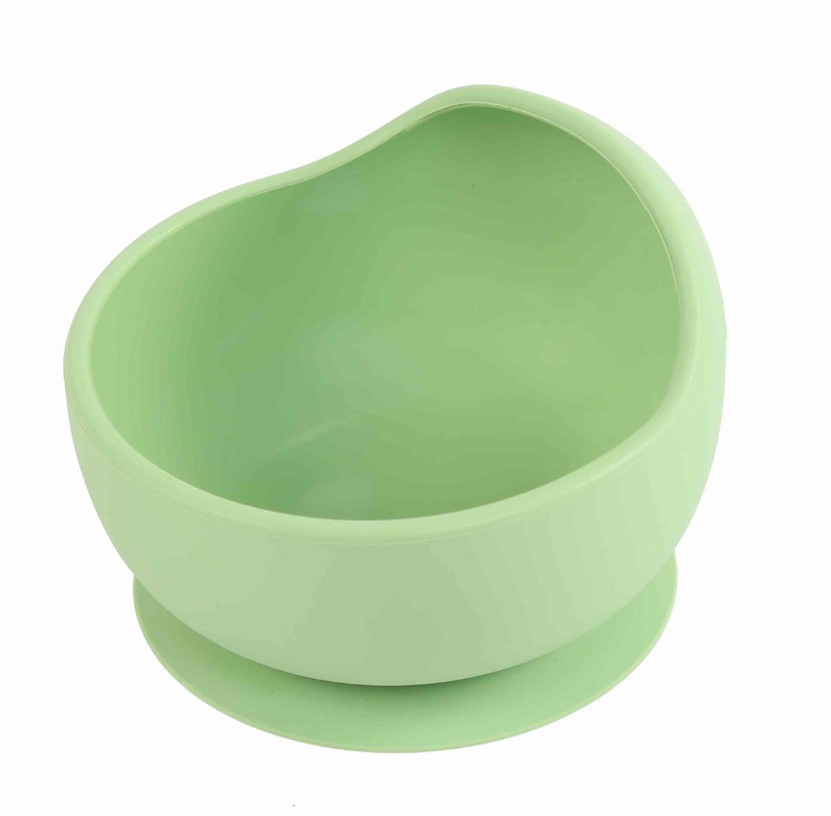 Matset baby skål av livsmedelsgodkänd silikon grön