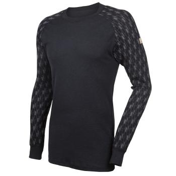 Janus DesignWool herr tröja merinoull med mönstrad ärm grå