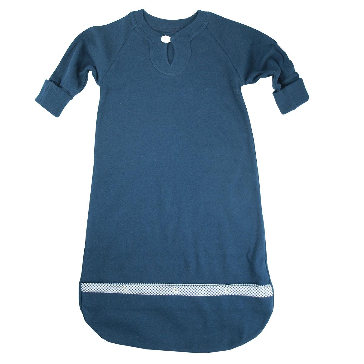 Minimundus sovpåse med knappar nedtill ekologisk bomull marinblå och handgömma