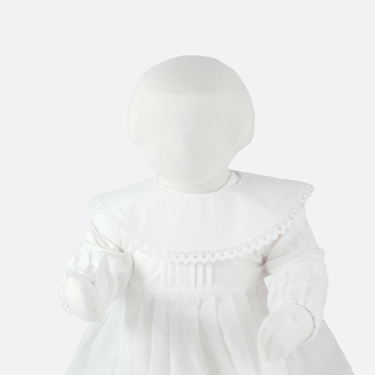 Krage med spets till minimundus dopklänning av ekologisk bomull