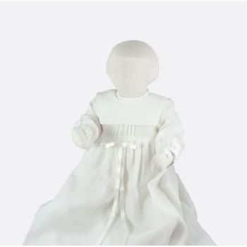 Krage till minimundus dopklänning av ekologiskt lin vit