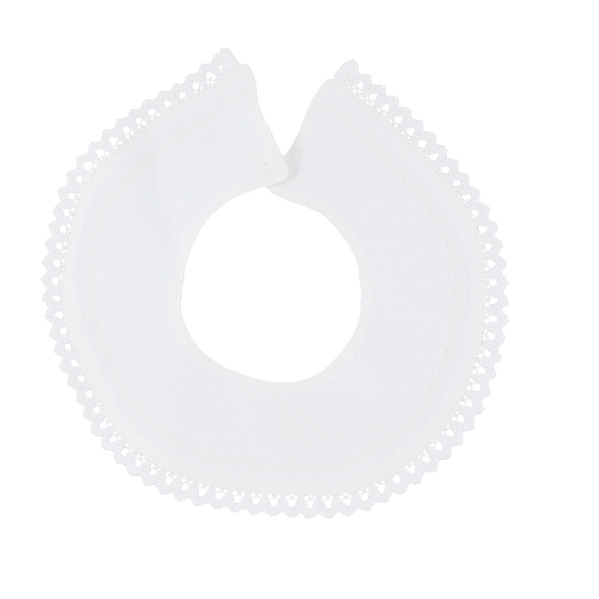 Minimundus krage med spets till dopklänning av ekologiskt lin vit