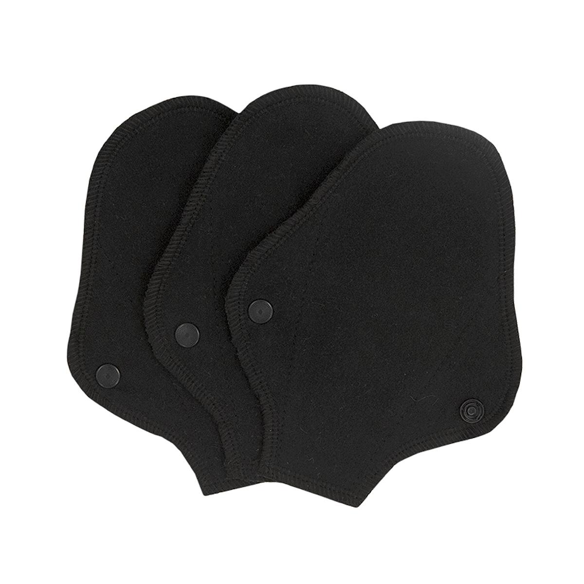 Imse tvätt- och återanvändbara trosskydd String ekologisk bomull svart 3-pack