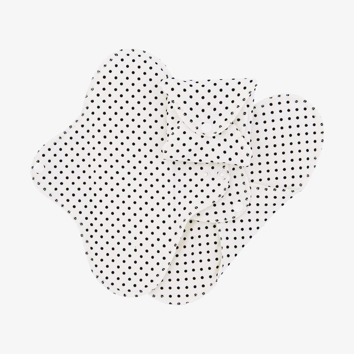 Imse Active dag tvätt- och återanvändbara ekologiska tygbindor dag black dots 3-pack