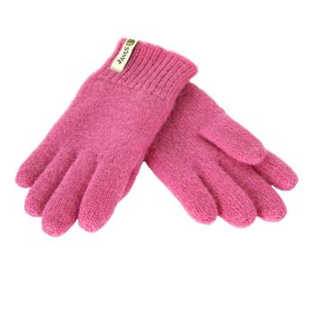 Janus fingervantar av 100% ruggad merinoull, rosa