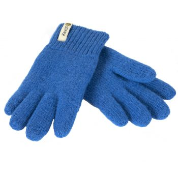 Janus fingervantar av 100% ruggad merinoull, blå