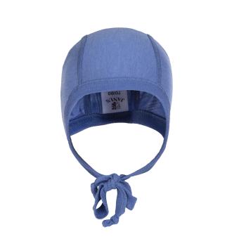 Janus babymössa LightWool merinoull extra mjuk och lätt ull blå med knytband