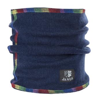 Halsduk neckwarmer barn Janus 100% merinoull marinblå med sömmar i regnbågens färger