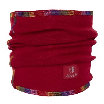 Halsduk neckwarmer barn Janus 100% merinoull röd med sömmar i regnbågens färger