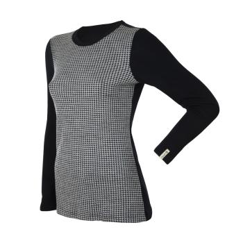 Janus DesignWool dam tröja av merinoull med lång ärm svart med svart/vitt framstycke
