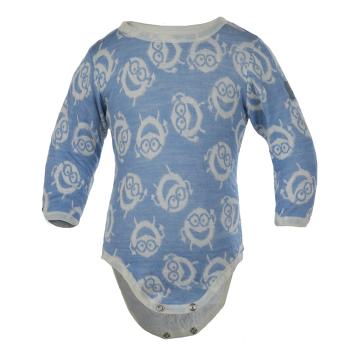 Body av ekologisk bomull/merinoull med mönster Professor Sirkel, blå
